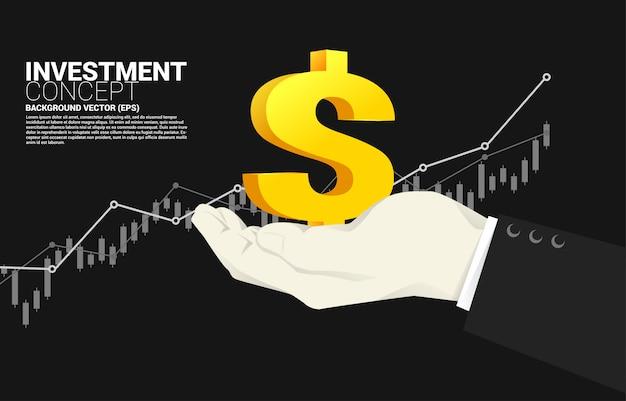 Mała pieniądze ikona w biznesmen ręce z narastającym wykresu tłem. sukces inwestycji i wzrost w biznesie Premium Wektorów