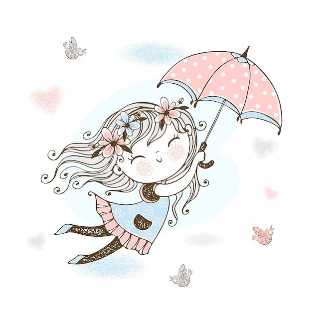 Mała śliczna Dziewczyna Lata Na Parasolu. Premium Wektorów