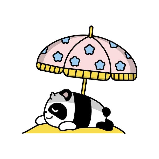 Mała śliczna panda kłama sunning ilustrację Premium Wektorów