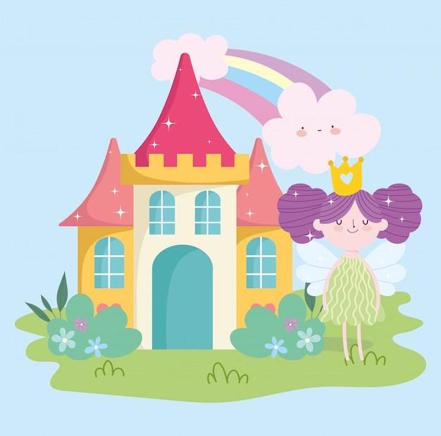 Mała Wróżka Księżniczka Ze Skrzydłami Zamek Tęcza Chmury Bajka Ogrodowa Kreskówka Premium Wektorów