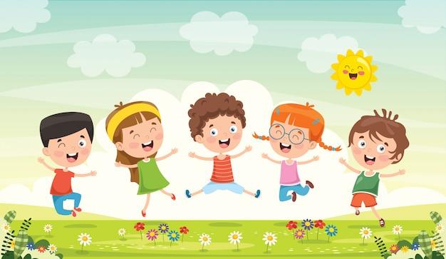 Małe Dzieci Bawią Się Razem   Premium Wektor