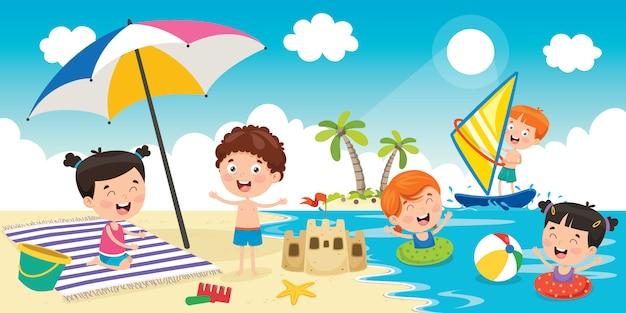 Małe dzieci bawiące się na plaży Premium Wektorów