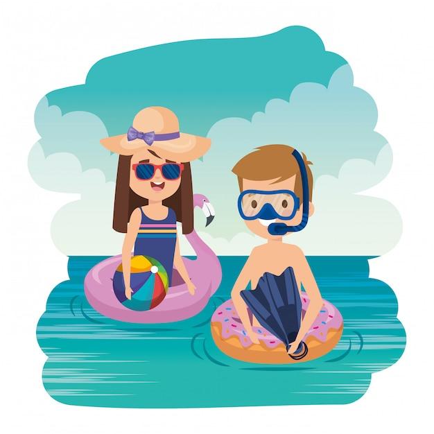 Małe Dzieci Dobierają Się Z Snorkel I Balonem Na Morzu Premium Wektorów
