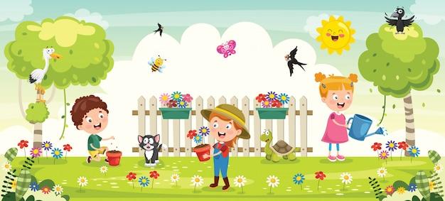 Małe Dzieci Ogrodnictwo I Sadzenie Premium Wektorów
