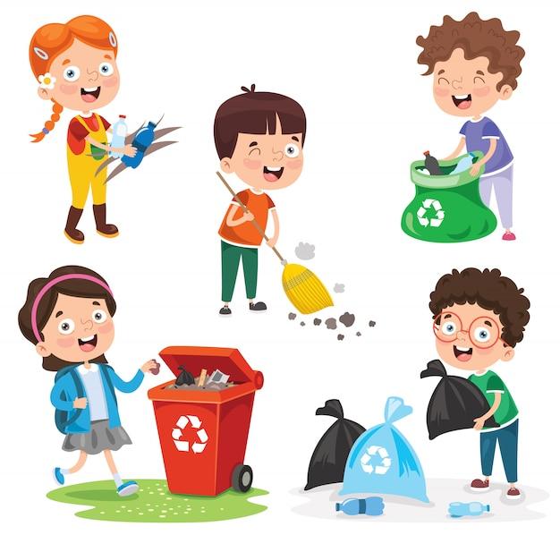 Małe dzieci, sprzątanie i recykling śmieci Premium Wektorów