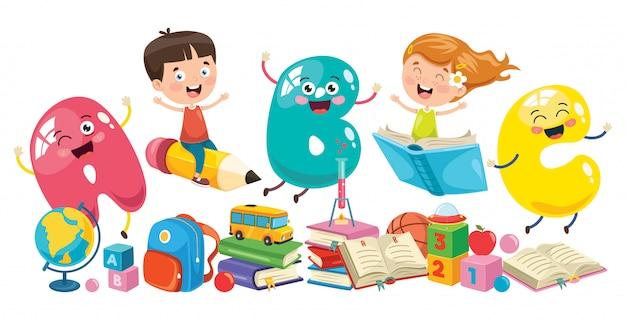Małe dzieci w wieku szkolnym Premium Wektorów