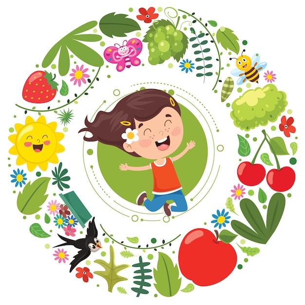 Małe Dziecko I Elementy Natury Premium Wektorów