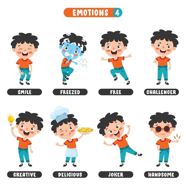 Małe Dziecko Z Różnymi Emocjami Premium Wektorów