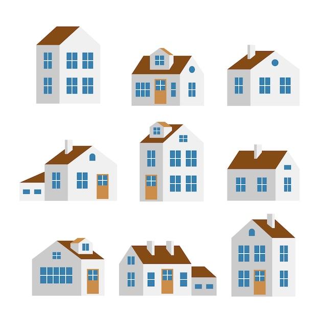 Małe i duże białe domy, na białym tle zestaw Premium Wektorów