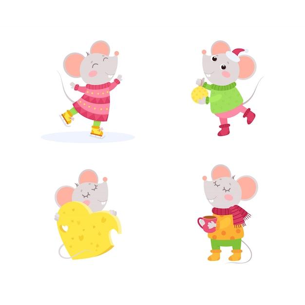 Małe Myszy Zimowe Postacie Premium Wektorów