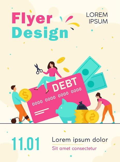 Małe Osoby W Pułapce Szablonu Ulotki Zadłużenia Karty Kredytowej Darmowych Wektorów