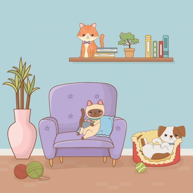 Małe pies i kot maskotki w pokoju domu Premium Wektorów
