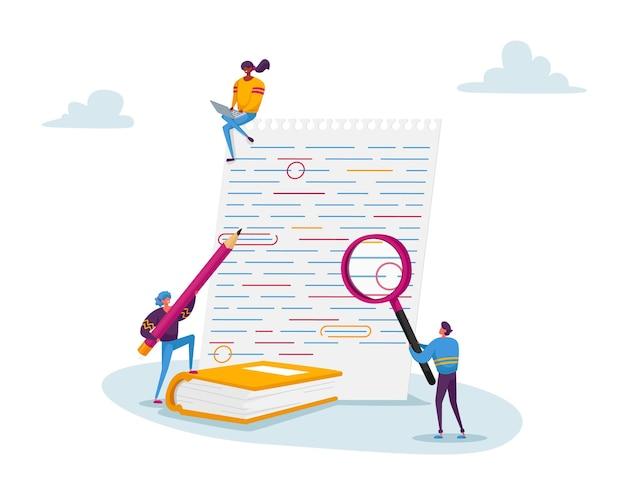 Małe Postacie Z Dużym Szkłem Powiększającym I Czerwonym Ołówkiem Edytuj I Poprawiaj Błędy W Teście Na Papierze Premium Wektorów