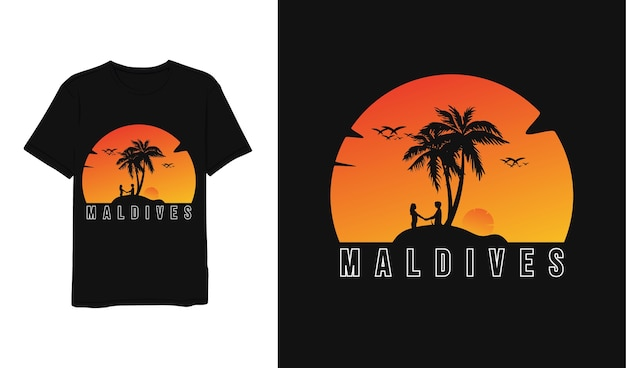 Malediwy, Projekt Koszulki żółty Pomarańczowy Biały Minimalistyczny Nowoczesny Prosty Styl Premium Wektorów