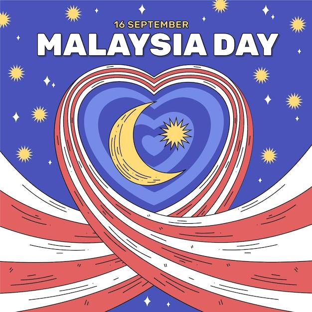 Malezja Dzień Z Sercem Darmowych Wektorów