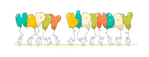 Mali ludzie ze słowami happy birthday. Premium Wektorów