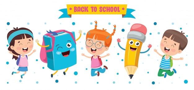Mali Studenci Bawią Się Książką I Ołówkiem Premium Wektorów