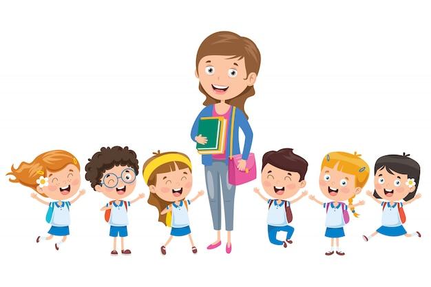 Mali Uczniowie Z Nauczycielem Premium Wektorów