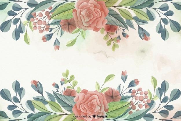 Malowane akwarela kwiatowy rama tło Darmowych Wektorów