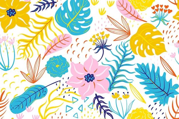 Malowany Tropikalny Wzór Kwiatowy Darmowych Wektorów