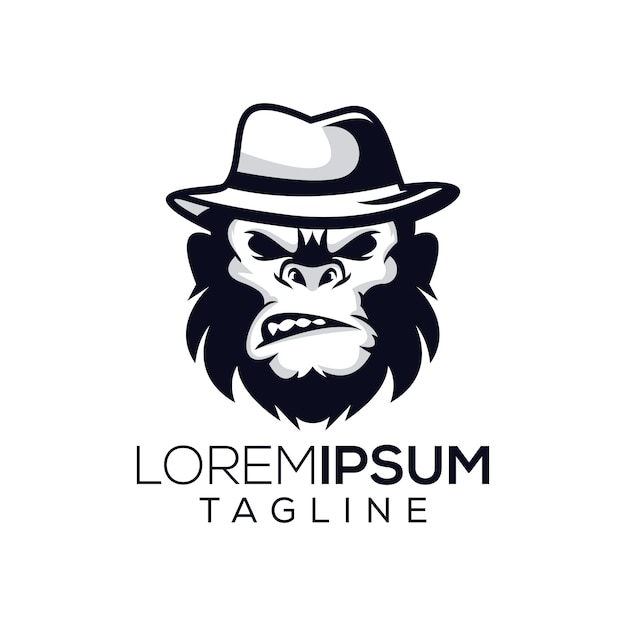 Małpa Bos Logo Premium Wektorów