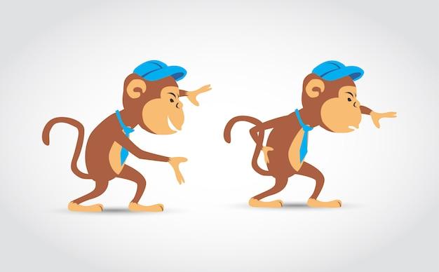 Małpa Postać Z Kreskówki Premium Wektorów