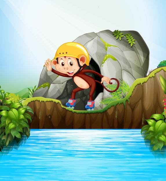 Małpa W Rolkach W Naturze. Ilustracja Postać Z Kreskówki Premium Wektorów
