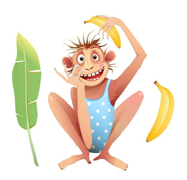 Małpi Szympans Siedzący Z Szalonym Naśladowaniem Wyrazu Twarzy. Funky Szympans Zwierzęca Maskotka Na Białym Tle, Kreskówka Dla Dzieci. Premium Wektorów