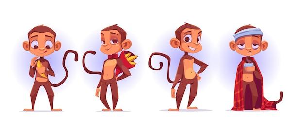 Małpki Z Kreskówek, Urocza Maskotka Małpy I Przedstawiająca Banana Darmowych Wektorów
