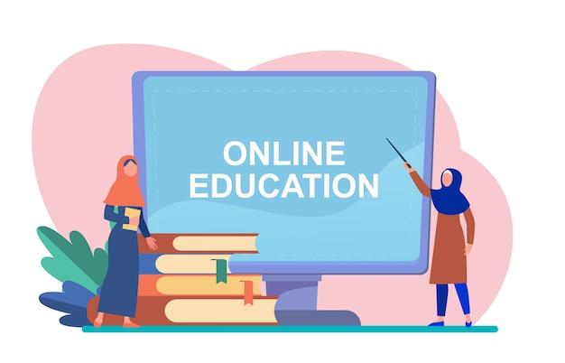 Malutka Arabka Uczy Się Na Komputerze. Książka, Student, Internet Płaski Ilustracji Wektorowych. Studia I Edukacja Online Darmowych Wektorów