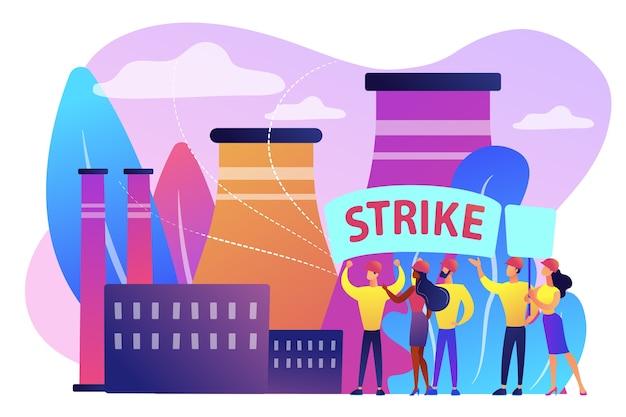 Malutki Tłum Robotników Trzyma Plackty I Walczy O Prawa W Fabryce. Akcja Strajkowa, Strajk Ruchu Robotniczego, Koncepcja Przerwy W Pracy Pracowników. Darmowych Wektorów