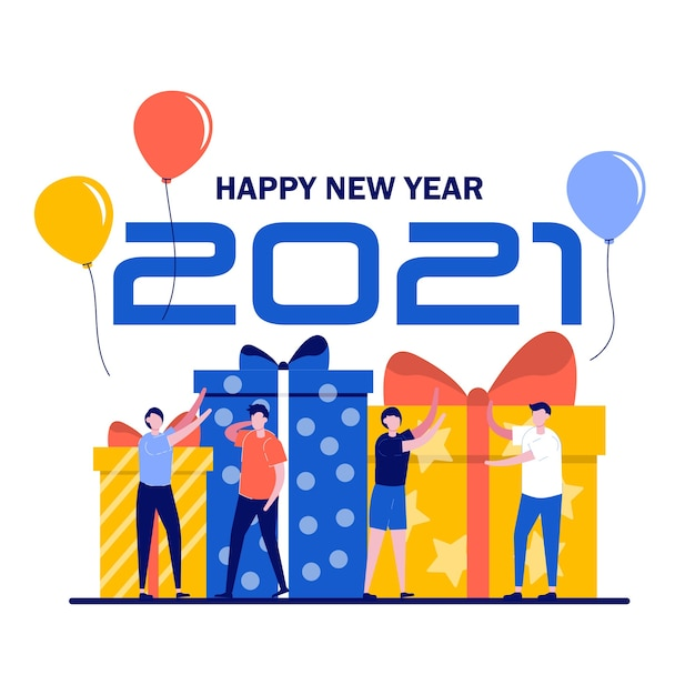 Malutkie Osoby Dekorują I Przygotowują Się Do Obchodów Nowego Roku I Prezentów. Premium Wektorów