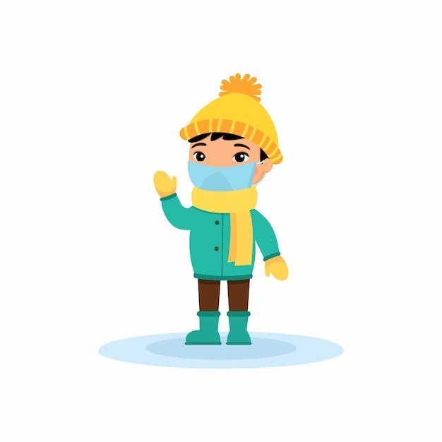 Mały Azjatycki Chłopiec Z Maską Oddechową Na Twarzy Macha Ręką. Wirus Ochrona. Premium Wektorów