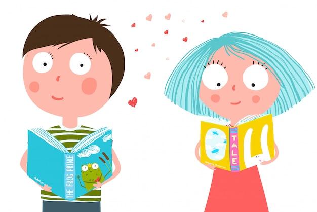 Mały Chłopiec I Dziewczynka Czytanie Książki Premium Wektorów