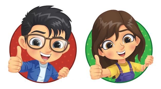 Mały Chłopiec I Dziewczynka Pokazują Kciuk W Górę Premium Wektorów