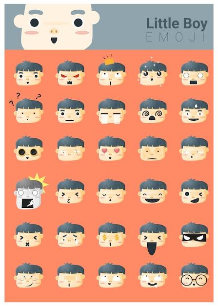 Mały chłopiec ikony emoji Premium Wektorów