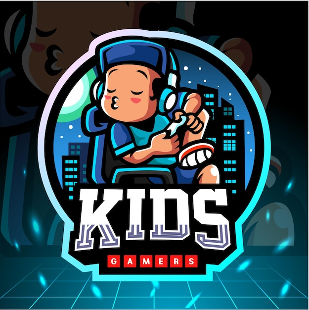 Mały Chłopiec Maskotka Grając W Gry. Logo Esport Premium Wektorów