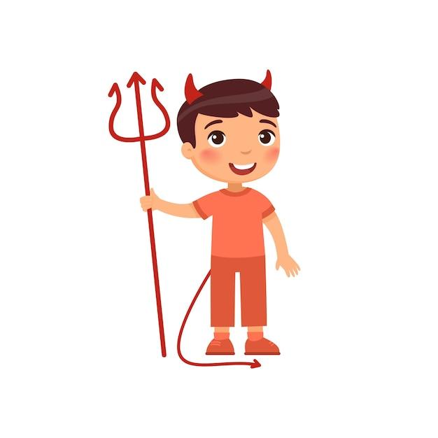 Mały Chłopiec Sobie Ilustracja Kostium Diabła Darmowych Wektorów