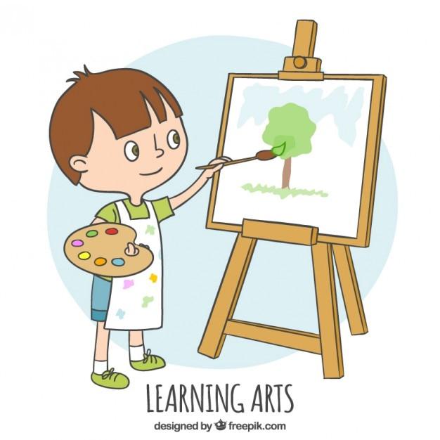 Mały chłopiec uczy się malować Darmowych Wektorów