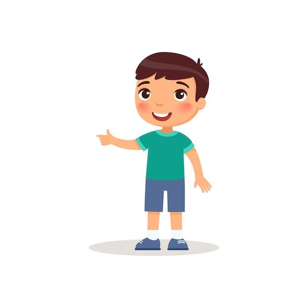 Mały Chłopiec Wskazując Palcem Wskazującym Płaskie Wektor Ilustracja. Darmowych Wektorów