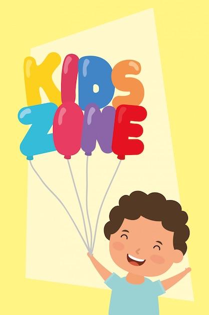 Mały chłopiec z balonami strefowymi dla dzieci hel Premium Wektorów