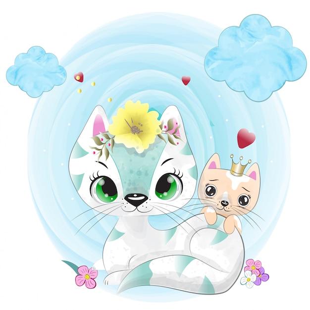Mały kot malowany akwarelą Premium Wektorów