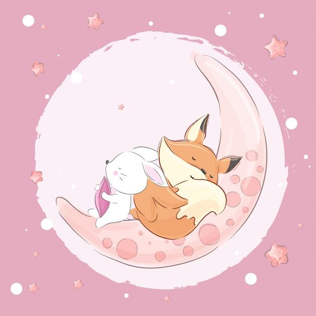 Mały lisa królik śpi na wektorze księżycowym Premium Wektorów
