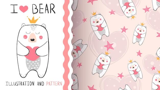 Mały niedźwiedź księżniczka wzór Premium Wektorów