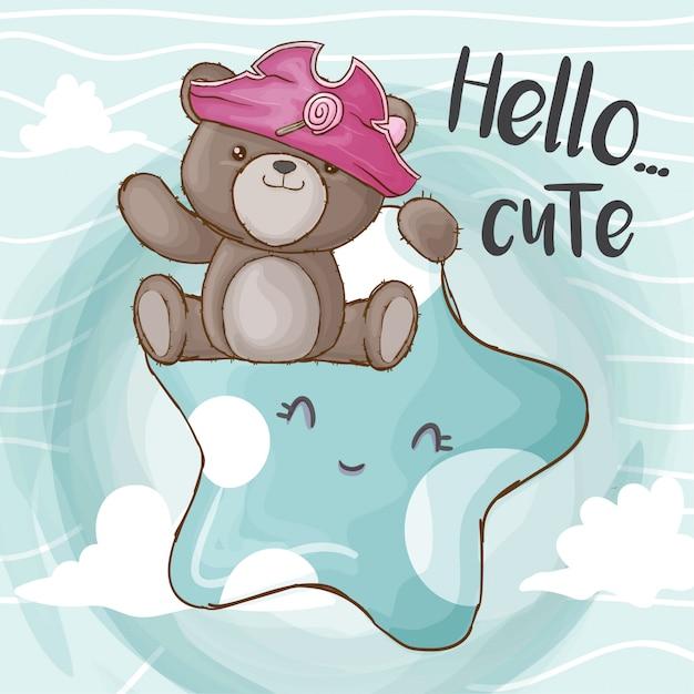Mały niedźwiedź piraci ręcznie rysowane zwierząt Premium Wektorów