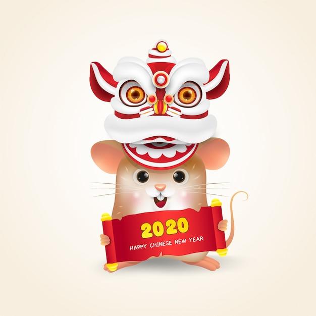 Mały szczur lub mysz chiński nowy rok Premium Wektorów
