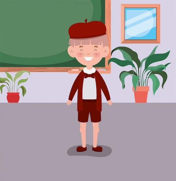 Mały Uczeń Chłopiec W Klasie Darmowych Wektorów