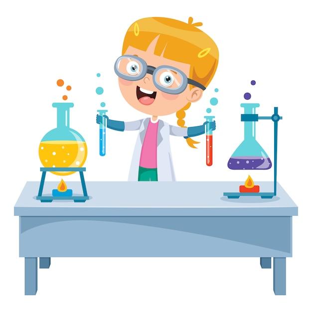 Mały uczeń robi eksperyment chemiczny Premium Wektorów