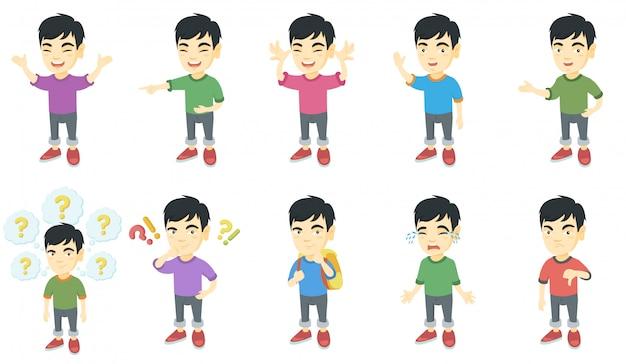 Mały zestaw znaków azjatycki chłopiec Premium Wektorów