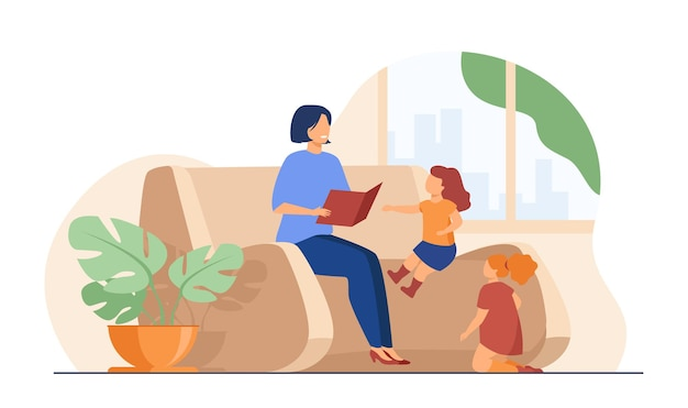 Mama Czyta Książkę Dla Dzieci W Domu. Matka Opowiadająca Bajki Małym Dzieciom. Darmowych Wektorów